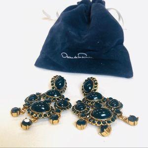Oscar De La Renta Midnight Blue Gold Earrings